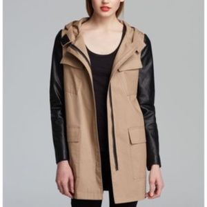 NWT DKNY Tan & Black Perforated Leather Jacket